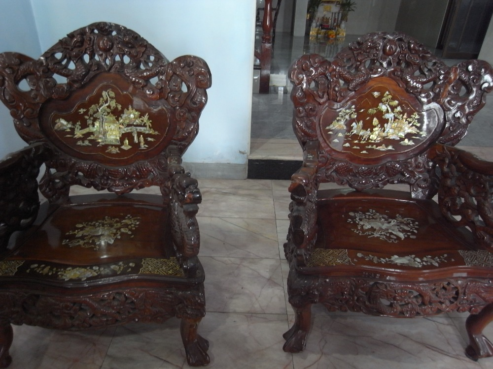 Laos Antiques Chinese Wooden Mother Of Pearl Living Room Set