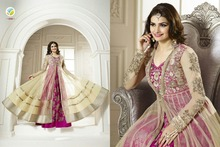 New Frock Designer Dark Pink & Cream Net colour Anarkali work suit