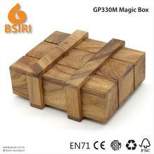 Funny Vintage Wooden Magic Box Secret Puzzle Drawer Brain Teaser Toy