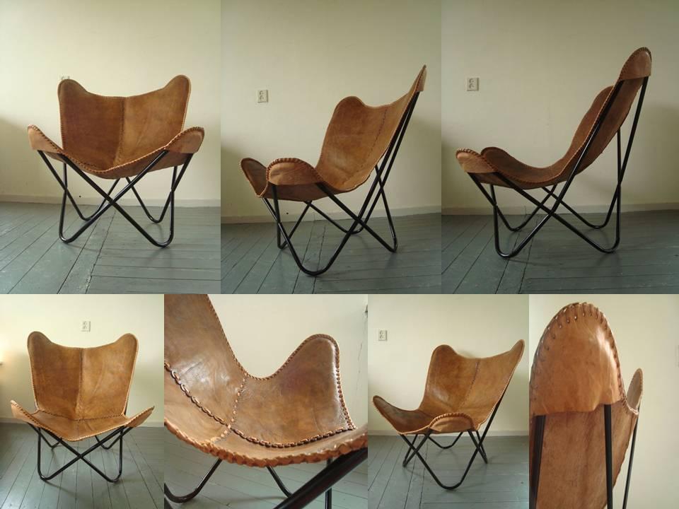 Peau de vache en cuir marron beige papillon chaise chaises for Chaise de salon en cuir