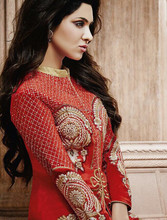 Bridal Red color with White embroidery stone work all over designer semi stitch salwar kameez
