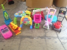 Toys, plastic, hard, gently used: Little, medium and large sizes