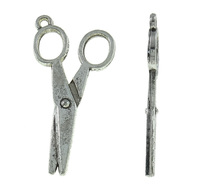 Zinc Alloy Tool Pendan Scissors antique silver color plated nick lead & d free 18x35mm Hole:Appr 2mm 555PCs/KG Sold By KG