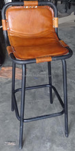 Industrial Leather Bar Chair.