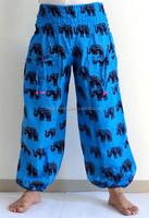 Elephant print indian cotton harem pants,Yoga Clothes Floral Print Dress Sarouel,pantalon