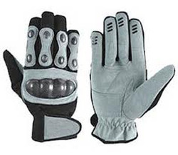 Black & Grey Color Motorcycle Leather Gloves
