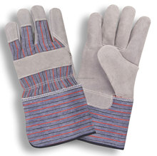 cheapest price cotton back and cow split leather palm working gloves made in pak