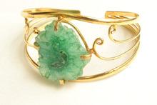 Gold plated adjustable brass cuff/Designer druzy cuff/2015 Fashion jewelry cuff/Handmade adjustable jewelry