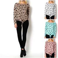 2015 New Trendy Oversize tied women cardigan fashion hoodie heart print blouse top 1608