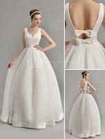 Vintage Inspired Plunge V Neck Wedding Gown with Bow Embellished Cut Out Back