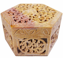 Decorative Marble Jewelry Storage Box Organizer Intricately Carved Floral Lattice Work Gift Ideas for Women