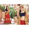 Glamour Designer Navy Blue & Red Anarkali suit
