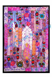 Purple beaded work online buy old patchwork tapestry - vintage patch work wall hangings-patch work ethnic wall hanging