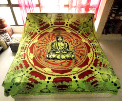 Indian Tapestry Lord Buddha Printed Wall Hanging Ethnic Double Bed Sheet Cotton Hippie Tapestries Sheet Decor Art