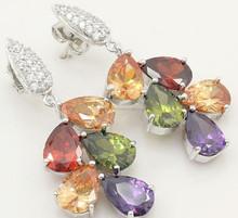 Amethyst Peidot Garnet 925 Sterling Silver Earrings Natural AAA Morganite/2015 Fashionble gemstone silver earrings/Hot sale
