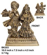 silver finish radha krishna hindu God Idol