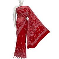 Ada Exclusive Red Faux Georgette Chikankari Saree with Blouse - 205289