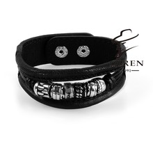 stainless steel fashion jewelry famous brand Punk style real leather black color MB bangles / bracelets best for your love