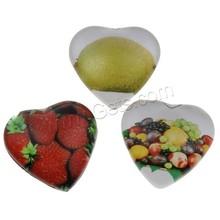 Decalque de vidro cabochão coração de frutas design e tamanho diferente para a escolha e projetos diferentes para a escolha & plano voltar 1000 pçs/saco vendido