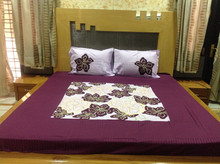 100% Cotton Maroon Patch Work Bedsheet With 2 Pillow Cover