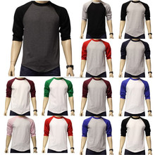 custom logo wholesale men two color BaseBall 3/4 Sleeve Raglan Jersey T Shirts