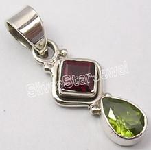 925 Sterling Silver Fancy RED GARNET & GREEN PERIDOT WELL MADE Pendant 3.3 CM