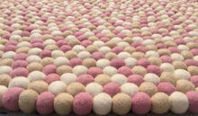 Handmade Felt White Mix Ball Rug