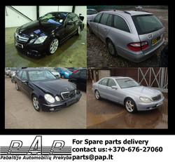 Mercedes Benz E-class, E-class coupe, S-class, W211, W207, W220 spare parts, parts, used parts, body parts, engine, gearbox