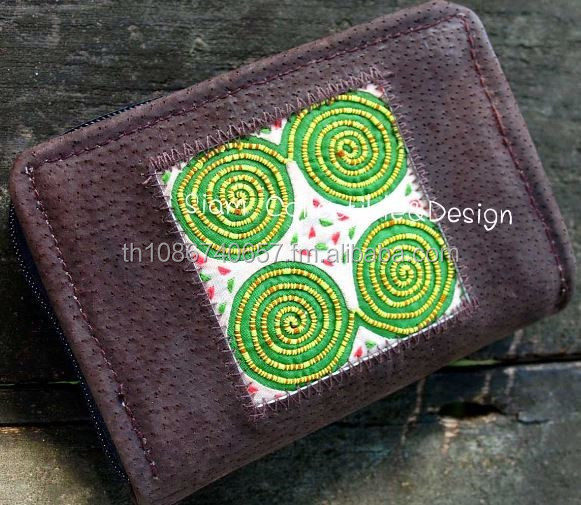 Embroidered Leather Wallet Leather Wallet Purses
