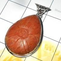 Wholesale 925 Sterling Silver Carving Red Jasper Gemstone Handmade Huge Pendant India