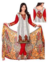 Variation Design White & Black Crepe Indian Printed Dress Material