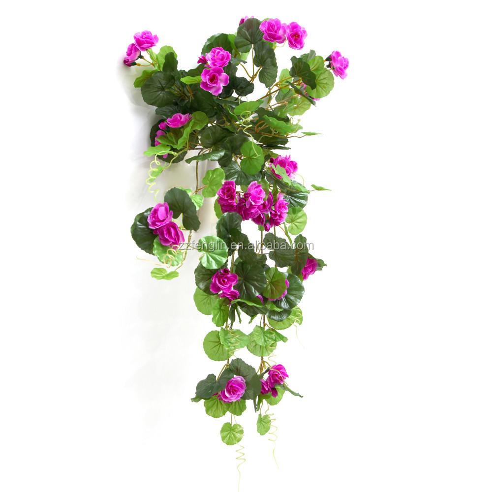 ext rieur d coratif soie g ranium fleur en gros fleur artificielle panier suspendu fleurs. Black Bedroom Furniture Sets. Home Design Ideas