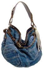 women bags japan wholesale hot selling cute sling denim jeans bags with fake leather tassel women