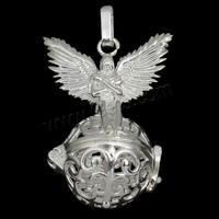 Ball Pendant Brass with brass bell & Rhinestone Clay Pave plated hollow more colors for choice nickel lead & cadmium free 31x44
