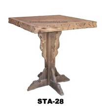 one piece sculpted antique hand carved wood garden table