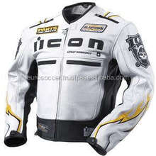 I con Dead Men Ce Armour Motorbike Road Racing Protective Certified High Quality Cow Grain Leather Jacket