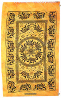 """Elephant Fringe Lace Tapestries Yellow Decorator Fabric Large Wall Art Twin Small Size 54"""" X 85"""""""