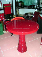 furniture handicraft red glossy color round shape lacquer furniture