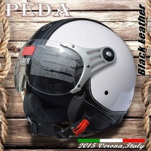 (Black Leather) 2015 NEW ECE open face motorcycle summer helmet CASCO vintage leather Italian unisex(PEDA MOTOR high quality)