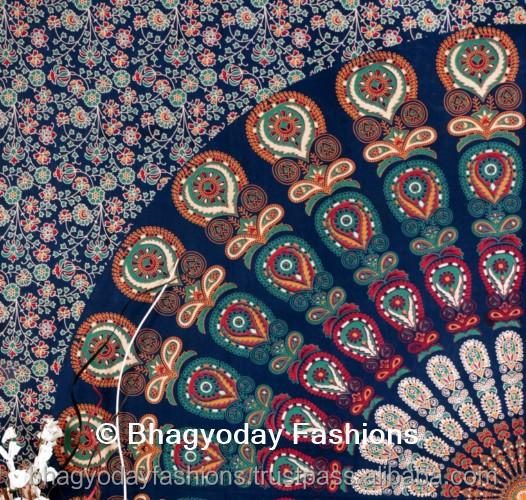 indien peacock mandala tapisserie boho boh me couvre lit tapisserie coton tenture ethnique. Black Bedroom Furniture Sets. Home Design Ideas