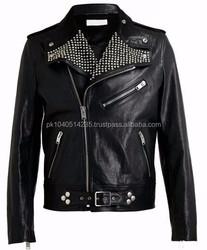 Men collar motorcycle leather jacket SG-C052