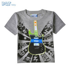 New Borned Baby Wear Super Soft Guitar Embroidered Cool Boys T-shirt
