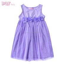 Elasticized Waist Elegant Sleeveless Lilac Mesh Party Long Baby Online Dress