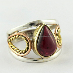 Vintage Design !! Bezel Setting Garnet 925 Sterling Silver Ring, Indian Handmade Silver Jewelry, Online Silver Jewelry India