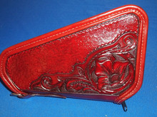 MEDIUM PISTOL CASE/CADDY IN ANCIENT BURGUNDY WITH WESTERN FLORAL PATTERN BY BLUEHORN CUSTOM LEATHER