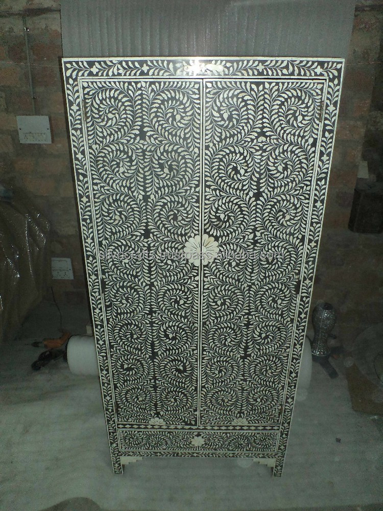 indienne et marocaine style os de chameau incruster almirah armoire armoire os et m re de. Black Bedroom Furniture Sets. Home Design Ideas