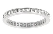 White Gold 1.16 Carat Princess Cut Diamond Eternity Ring Band Jewelry