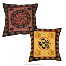 Rangasthali Traditional Kantha Work Rajasthani Print Cushion Cover Set-5 pcs