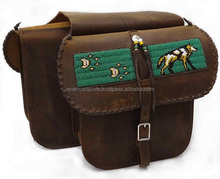 Horse riding saddle bags with custom embroidery