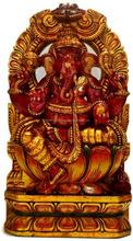Large Hindu Elephant God Ganesh Hand Carved Wooden Statue/Handmade Ganesh Statue/Wood Carving God Figure/Indian Handicraft 2015